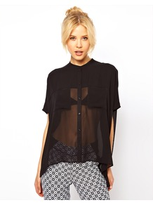 Blouse With Sheer Panels And Double Pockets - sleeve style: dolman/batwing; pattern: plain; length: below the bottom; style: shirt; bust detail: pocket detail at bust; predominant colour: black; occasions: casual, evening, work; neckline: collarstand; fibres: polyester/polyamide - 100%; fit: loose; back detail: longer hem at back than at front; sleeve length: half sleeve; texture group: sheer fabrics/chiffon/organza etc.; pattern type: fabric