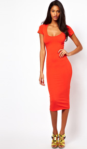 Midi Bodycon Dress With Short Sleeves - length: below the knee; fit: tight; pattern: plain; style: bodycon; predominant colour: bright orange; occasions: casual, evening; neckline: scoop; fibres: cotton - stretch; sleeve length: short sleeve; sleeve style: standard; texture group: jersey - clingy; pattern type: fabric