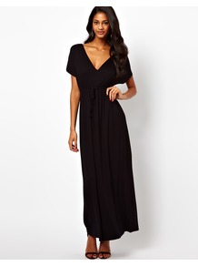 Maxi Dress In Grecian Style - neckline: low v-neck; sleeve style: dolman/batwing; fit: empire; pattern: plain; style: maxi dress; length: ankle length; predominant colour: black; occasions: casual, evening, holiday; fibres: viscose/rayon - stretch; hip detail: soft pleats at hip/draping at hip/flared at hip; sleeve length: short sleeve; pattern type: fabric; texture group: jersey - stretchy/drapey