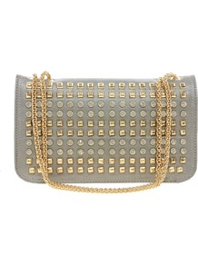 Studded Chain Shoulder Bag - predominant colour: sage; secondary colour: gold; occasions: evening, occasion; type of pattern: light; style: shoulder; length: shoulder (tucks under arm); size: small; material: faux leather; embellishment: studs; pattern: plain; finish: plain