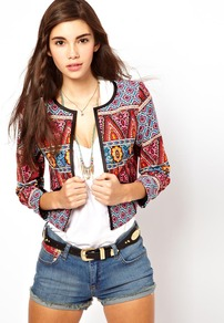 Jacket In Habernera Print - collar: round collar/collarless; length: cropped; style: boxy; occasions: casual; fit: straight cut (boxy); fibres: cotton - 100%; predominant colour: multicoloured; sleeve length: 3/4 length; sleeve style: standard; texture group: cotton feel fabrics; collar break: low/open; pattern type: fabric; pattern size: small & busy; pattern: patterned/print