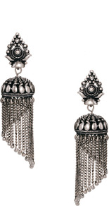 Mini Lampshade Tassel Earrings - predominant colour: silver; occasions: evening, occasion; style: chandelier; length: long; size: large/oversized; material: chain/metal; fastening: pierced; finish: plain; embellishment: chain/metal