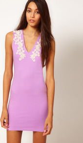 Dress With Lace Trim - length: mini; neckline: low v-neck; fit: tight; pattern: plain; sleeve style: sleeveless; style: bodycon; bust detail: added detail/embellishment at bust; waist detail: fitted waist; predominant colour: lilac; secondary colour: lilac; occasions: evening, occasion; fibres: cotton - stretch; sleeve length: sleeveless; texture group: jersey - clingy; embellishment: lace
