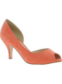 Sugar Cube Heels - predominant colour: bright orange; occasions: evening, work; material: faux leather; heel height: mid; heel: kitten; toe: open toe/peeptoe; style: courts; finish: plain; pattern: plain