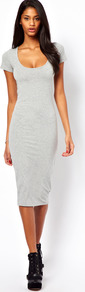 Midi Bodycon Dress With Short Sleeves - length: below the knee; fit: tight; pattern: plain; style: bodycon; predominant colour: light grey; occasions: casual, evening; neckline: scoop; fibres: cotton - stretch; sleeve length: short sleeve; sleeve style: standard; pattern type: fabric; texture group: other - clingy
