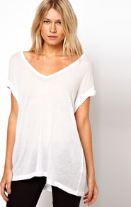 T Shirt In Sheer Slouch - neckline: low v-neck; pattern: plain; length: below the bottom; style: t-shirt; predominant colour: white; occasions: casual, holiday; fibres: viscose/rayon - 100%; fit: loose; sleeve length: short sleeve; sleeve style: standard; pattern type: fabric; texture group: jersey - stretchy/drapey