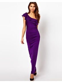 One Shoulder Maxi Dress With Ruffle Detail - pattern: plain; sleeve style: sleeveless; style: maxi dress; length: ankle length; waist detail: fitted waist; neckline: asymmetric; predominant colour: aubergine; occasions: evening; fit: body skimming; fibres: polyester/polyamide - mix; hip detail: ruching/gathering at hip; shoulder detail: asymmetric shoulder detail/one shoulder; sleeve length: sleeveless; bust detail: tiers/frills/bulky drapes/pleats; pattern type: fabric; texture group: other - stretchy