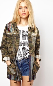 Skull Embroidered Camo Jacket - length: below the bottom; bust detail: added detail/embellishment at bust; fit: loose; style: parka; hip detail: front pockets at hip; collar: high neck; shoulder detail: contrast pattern/fabric at shoulder; back detail: contrast pattern/fabric at back; secondary colour: dark green; predominant colour: khaki; occasions: casual; fibres: cotton - 100%; sleeve length: 3/4 length; sleeve style: standard; texture group: cotton feel fabrics; trends: statement prints; collar break: high; pattern type: fabric; pattern size: big &amp; busy; pattern: patterned/print; embellishment: embroidered