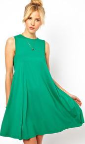 Sleeveless Swing Dress - style: smock; length: mid thigh; fit: loose; pattern: plain; sleeve style: sleeveless; predominant colour: emerald green; occasions: casual; fibres: viscose/rayon - stretch; neckline: crew; hip detail: soft pleats at hip/draping at hip/flared at hip; sleeve length: sleeveless; pattern type: fabric; texture group: jersey - stretchy/drapey