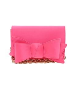 Lomas Satin Bow Clutch - predominant colour: hot pink; occasions: evening, occasion; type of pattern: standard; style: clutch; length: hand carry; size: small; material: satin; pattern: plain; trends: fluorescent; finish: plain; embellishment: bow