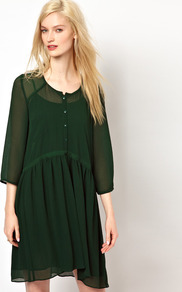 Double Layered Shirt Dress In Crepe - style: shirt; neckline: round neck; fit: loose; pattern: plain; bust detail: buttons at bust (in middle at breastbone)/zip detail at bust; predominant colour: dark green; occasions: casual; length: just above the knee; fibres: polyester/polyamide - 100%; sleeve length: 3/4 length; sleeve style: standard; texture group: sheer fabrics/chiffon/organza etc.; pattern type: fabric