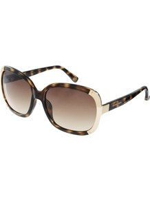 Square Frame Sunglasses - secondary colour: tan; predominant colour: black; occasions: casual, holiday; style: square; size: large; material: plastic/rubber; pattern: tortoiseshell; finish: plain