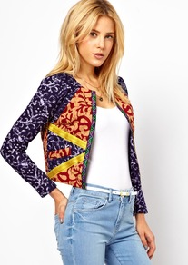 Jacket In Mix Print With Tape Detail - collar: round collar/collarless; length: cropped; style: boxy; predominant colour: navy; secondary colour: nude; fit: straight cut (boxy); fibres: cotton - 100%; sleeve length: long sleeve; sleeve style: standard; texture group: cotton feel fabrics; collar break: low/open; pattern type: fabric; pattern size: big & busy; pattern: patterned/print