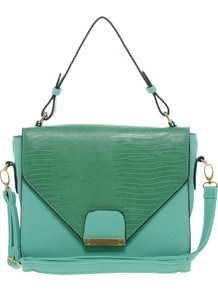 Structured Shoulder Bag - secondary colour: emerald green; predominant colour: mint green; occasions: evening, work; style: shoulder; length: across body/long; size: small; material: faux leather; pattern: plain; finish: plain