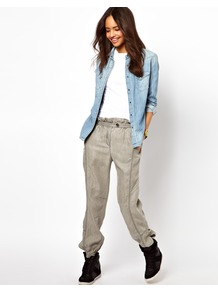 Trousers With Stitch Detail - length: standard; pattern: plain; style: tracksuit pants; waist: mid/regular rise; predominant colour: stone; occasions: casual; fibres: cotton - 100%; waist detail: paperbag waist; texture group: cotton feel fabrics; fit: straight leg; pattern type: fabric