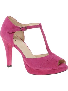 Baby T Bar Heeled Shoes - predominant colour: hot pink; occasions: evening, work, occasion; material: suede; heel height: high; ankle detail: ankle strap; heel: platform; toe: open toe/peeptoe; style: t-bar; finish: plain; pattern: plain