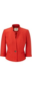 Petite Paprika Textured Jacket - pattern: plain; style: single breasted blazer; collar: standard lapel/rever collar; predominant colour: bright orange; occasions: evening, work, occasion; length: standard; fit: tailored/fitted; waist detail: fitted waist; sleeve length: 3/4 length; sleeve style: standard; collar break: medium; pattern type: fabric; pattern size: standard; texture group: woven light midweight; fibres: viscose/rayon - mix