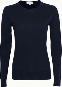 Geranium In Midnight - neckline: round neck; pattern: plain; style: standard; predominant colour: navy; occasions: casual, work; length: standard; fibres: wool - 100%; fit: standard fit; sleeve length: long sleeve; sleeve style: standard; texture group: knits/crochet; pattern type: knitted - other; pattern size: standard