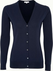 Nettle In Midnight - neckline: low v-neck; pattern: plain; predominant colour: navy; occasions: casual, work; length: standard; style: standard; fibres: wool - 100%; fit: standard fit; sleeve length: long sleeve; sleeve style: standard; texture group: knits/crochet; pattern type: knitted - other; pattern size: standard