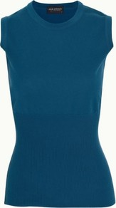 Amanda In Marine - pattern: plain; sleeve style: sleeveless; neckline: high neck; predominant colour: teal; occasions: casual, work, holiday; length: standard; style: top; fibres: cotton - 100%; fit: body skimming; texture group: knits/crochet; pattern type: knitted - other; pattern size: standard