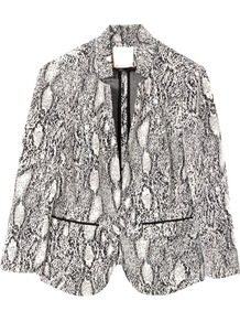 Python Blazer - style: single breasted blazer; collar: standard lapel/rever collar; secondary colour: white; predominant colour: mid grey; occasions: evening, work, occasion; length: standard; fit: tailored/fitted; fibres: polyester/polyamide - stretch; sleeve length: long sleeve; sleeve style: standard; trends: statement prints; collar break: medium; pattern type: fabric; pattern size: big & busy; pattern: animal print; texture group: other - light to midweight
