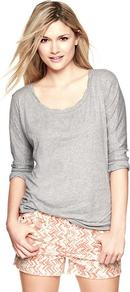 Dolman Sleeve Slub Pullover - sleeve style: dolman/batwing; pattern: plain; style: standard; predominant colour: light grey; occasions: casual; length: standard; neckline: scoop; fibres: cotton - mix; fit: standard fit; sleeve length: 3/4 length; pattern type: fabric; pattern size: standard; texture group: jersey - stretchy/drapey