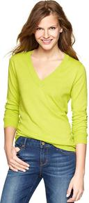 Luxlight V Neck Pullover - neckline: low v-neck; pattern: plain; style: standard; predominant colour: lime; occasions: casual, work; length: standard; fibres: cotton - mix; fit: slim fit; sleeve length: long sleeve; sleeve style: standard; texture group: knits/crochet; pattern type: knitted - fine stitch
