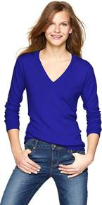 Luxlight V Neck Pullover - neckline: low v-neck; pattern: plain; style: standard; predominant colour: royal blue; occasions: casual, work; length: standard; fibres: cotton - mix; fit: slim fit; sleeve length: long sleeve; sleeve style: standard; texture group: knits/crochet; pattern type: knitted - fine stitch