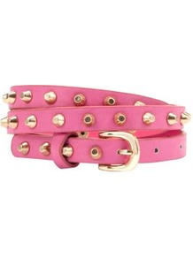 Pink Stud Skinny Belt - predominant colour: pink; occasions: casual, evening, holiday; type of pattern: standard; style: classic; size: skinny; worn on: waist; material: faux leather; embellishment: studs; pattern: plain; finish: plain