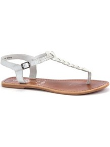 White Plaited Leather Sandals - predominant colour: white; occasions: casual, holiday; material: leather; heel height: flat; ankle detail: ankle strap; heel: standard; toe: toe thongs; style: flip flops / toe post; finish: plain; pattern: plain; embellishment: pleated