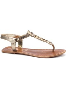 Gold Plaited Leather Sandals - predominant colour: gold; occasions: casual, holiday; material: faux leather; heel height: flat; ankle detail: ankle strap; heel: standard; toe: toe thongs; style: flip flops / toe post; trends: metallics; finish: metallic; pattern: plain