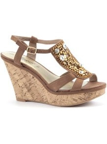 Tan Bead Embellished T Bar Cork Wedges - predominant colour: camel; occasions: casual, evening, occasion, holiday; material: fabric; heel height: high; embellishment: beading; ankle detail: ankle strap; heel: wedge; toe: open toe/peeptoe; style: standard; finish: plain; pattern: plain