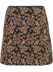 Black Floral Tapestry Mini Skirt - length: mini; fit: loose/voluminous; hip detail: fitted at hip; waist: mid/regular rise; occasions: casual, evening, work, holiday; style: a-line; fibres: polyester/polyamide - mix; waist detail: narrow waistband; predominant colour: multicoloured; trends: high impact florals; pattern type: fabric; pattern size: big &amp; busy; pattern: florals; texture group: other - light to midweight; embellishment: embroidered