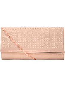 Oatmeal Cut Out Metal Bar Clutch - predominant colour: stone; occasions: evening, occasion; type of pattern: standard; style: clutch; length: hand carry; size: standard; material: faux leather; embellishment: studs; pattern: plain; finish: plain