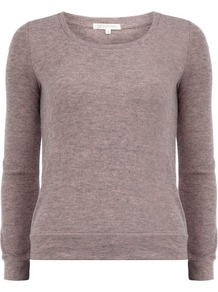 Purple Haze Patch Jumper - neckline: round neck; pattern: plain; style: standard; predominant colour: purple; secondary colour: tan; occasions: casual; length: standard; fibres: acrylic - mix; fit: standard fit; sleeve length: long sleeve; sleeve style: standard; texture group: knits/crochet; pattern type: knitted - fine stitch