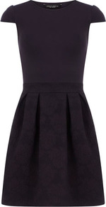 Ink Embossed Dress - sleeve style: capped; waist detail: fitted waist; predominant colour: aubergine; occasions: casual, evening; length: just above the knee; fit: fitted at waist &amp; bust; style: fit &amp; flare; fibres: cotton - stretch; neckline: crew; sleeve length: short sleeve; pattern type: fabric; pattern: patterned/print; texture group: jersey - stretchy/drapey