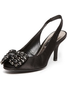 Black Gem Bow Slingback Courts - predominant colour: black; occasions: evening, occasion; material: suede; heel height: mid; heel: stiletto; toe: round toe; style: slingbacks; finish: plain; pattern: plain; embellishment: bow