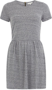 Grey Marl Tshirt Skater Dress - style: t-shirt; length: mid thigh; fit: fitted at waist; pattern: plain; waist detail: fitted waist; predominant colour: mid grey; occasions: casual; fibres: cotton - mix; neckline: crew; sleeve length: short sleeve; sleeve style: standard; texture group: jersey - stretchy/drapey