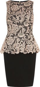 Champagne Lace Peplum Dress - style: shift; neckline: slash/boat neckline; fit: tailored/fitted; pattern: plain; sleeve style: sleeveless; waist detail: peplum waist detail; predominant colour: ivory; secondary colour: black; occasions: evening, occasion; length: just above the knee; fibres: polyester/polyamide - 100%; sleeve length: sleeveless; texture group: lace; trends: glamorous day shifts; pattern type: fabric