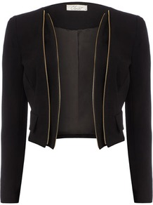 Black Zip Detail Jacket - pattern: plain; style: single breasted blazer; length: cropped; collar: standard lapel/rever collar; predominant colour: black; occasions: evening, work, occasion; fit: tailored/fitted; fibres: cotton - stretch; sleeve length: long sleeve; sleeve style: standard; texture group: cotton feel fabrics; collar break: low/open; pattern type: fabric