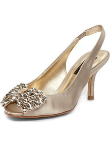 Gold Gem Bow Slingback Courts - predominant colour: gold; occasions: evening, occasion; material: satin; heel height: mid; heel: stiletto; toe: open toe/peeptoe; style: slingbacks; trends: metallics; finish: metallic; pattern: plain; embellishment: bow