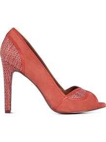 Germaine Raffia And Leather Peep Toe - predominant colour: coral; occasions: evening, work, occasion; material: suede; heel height: high; heel: stiletto; toe: open toe/peeptoe; style: courts; finish: plain; pattern: plain