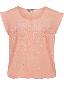 Laurel Embroidered Tie Waist Top - neckline: round neck; sleeve style: capped; pattern: plain; style: blouson; predominant colour: nude; occasions: casual, evening; length: standard; fibres: polyester/polyamide - 100%; fit: loose; sleeve length: sleeveless; texture group: silky - light; pattern type: fabric; embellishment: embroidered