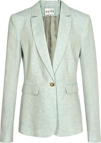 Martha Linen Jacket - pattern: plain; style: single breasted blazer; collar: standard lapel/rever collar; predominant colour: pistachio; occasions: casual, work, occasion; length: standard; fit: tailored/fitted; fibres: linen - 100%; back detail: back vent/flap at back; sleeve length: long sleeve; sleeve style: standard; texture group: linen; collar break: low/open; pattern type: fabric