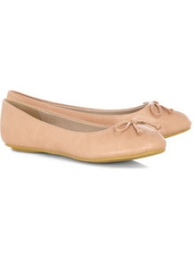 Nude Ballerina Pumps - predominant colour: nude; occasions: casual, work; material: faux leather; heel height: flat; toe: round toe; style: ballerinas / pumps; finish: plain; pattern: plain