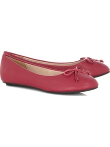 Berry Ballerina Pumps - predominant colour: hot pink; occasions: casual, work; material: faux leather; heel height: flat; toe: round toe; style: ballerinas / pumps; finish: plain; pattern: plain; embellishment: bow