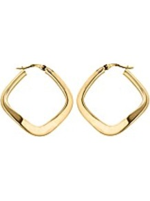 9 Ct Yellow Gold Thin Square Wavy Earring - predominant colour: gold; occasions: casual, evening, work, occasion; style: hoop; length: mid; size: standard; material: chain/metal; fastening: pierced; trends: metallics; finish: metallic; embellishment: chain/metal