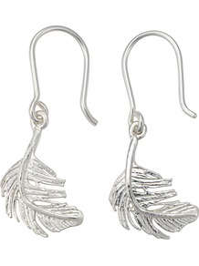 Little Feather Hook Earrings - predominant colour: silver; occasions: casual, evening, work, occasion, holiday; style: drop; length: mid; size: standard; material: chain/metal; fastening: pierced; finish: metallic; embellishment: chain/metal