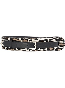 Birch Pony Leather Tapering Belt, Animal - secondary colour: white; predominant colour: black; occasions: casual, evening, work; type of pattern: standard; style: classic; size: wide; worn on: waist; material: animal skin; pattern: animal print; finish: plain