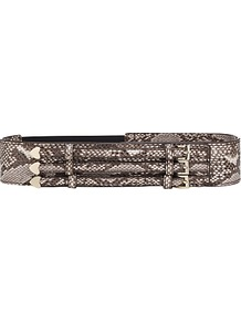 Belmont Wide Triple Buckle Belt, Snake - predominant colour: taupe; occasions: casual, evening, work; type of pattern: standard; style: cummerbund; size: wide; worn on: waist; material: leather; pattern: animal print; finish: plain; embellishment: buckles